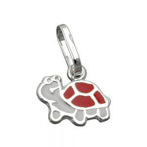 Pendentif tortue rouge blanc argent 925 Krossin bijoux en argent 91747xx