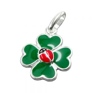 Pendentif trefle quatre feuilles plus coleoptere argent 925 Krossin bijoux en argent 90017xx
