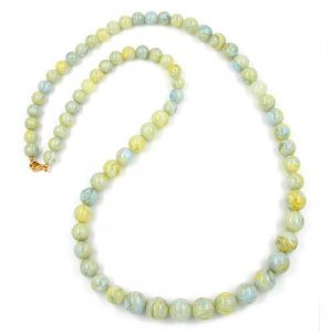 Perle chaine vert jaune taille variable 85cm 01871xx