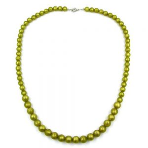 Perle chaine vert olive taille variable 55cm 01877xx