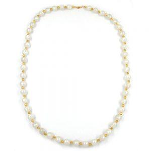 Perles de collier en soie blanc et or 80cm 05868xx