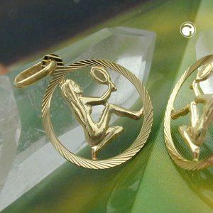 Signe du zodiaque pendentif Vierge 9k or Krossin bijoux or 430452x