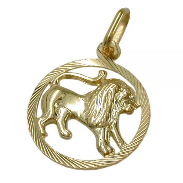 Signe du zodiaque pendentif lion or 9 carats 430451xx