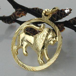 Signe du zodiaque pendentif lion or 9 carats Krossin bijoux or 430451x