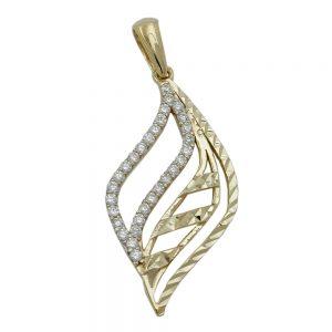 Superbe pendentif en zircon cubique blanc avec diamant   or jaune 9 carats de premiere qualite   design moderne unique   un cadeau ideal pour toute occasion 431305xx