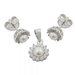 Un ensemble de boucles oreilles et pendentif en argent 925 Krossin bijoux en argent 91245xx