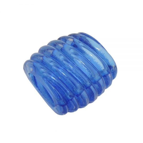 echarpe perle spirale marquage bleu transparent 35mm 02559xx